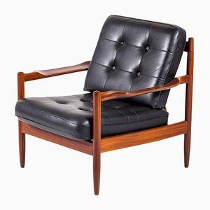 Vintage Rosewood & Skai Armchair by Grete Jalk, 1960s