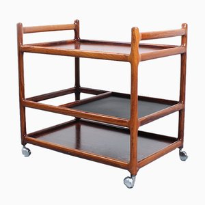 Danish Rosewood Serving Trolley by Johannes Andersen for CFC Silkeborg, 1950s
