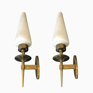 Mid-Century Italian Brass and White Satin Glass Wall Sconces, 1950s, Set of 2