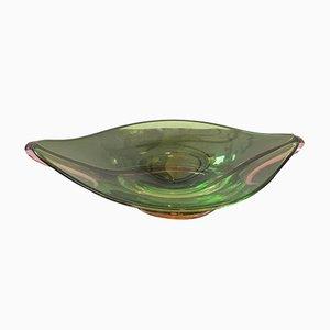 Centro de mesa Mid-Century moderno de cristal de Murano verde de Seguso, años 70