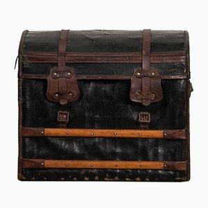 Small Antique Leather Travel Trunk