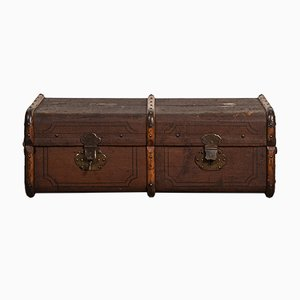 Vintage French Leather Travel Trunk, 1920s