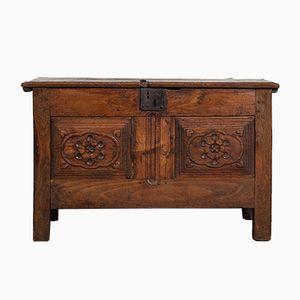 Antique Carved Oak Trunk