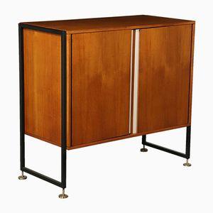 Teak Veneer Formica Metal Brass Cabinet, 1960s