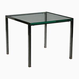Tavolino da caffè vintage in vetro e acciaio di Ross Littell per ICF, anni '60