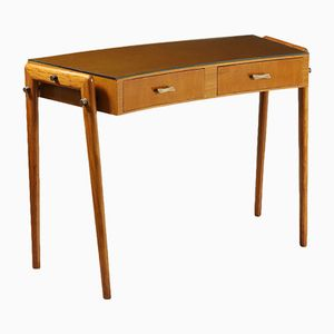 Stained Beech & Mahogany Veneered Glass Desk with Drawers, 1950s