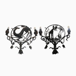 Vintage Wrought Iron Sconces, Set of 2