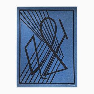 Grabado sobre madera estilo De Stijl de Cesar Domela para Edition Panderma, 1966