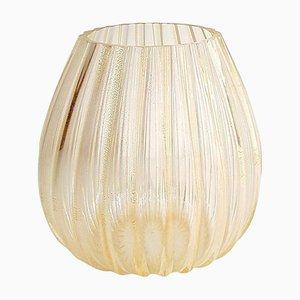 Jarrón vintage grande de cristal de Murano bañado en oro de 24 quilates de La Murrina