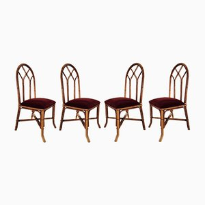 Bamboo & Cane Chairs, 1960s, Set of 4
