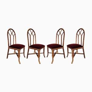 Chaises en Bambou et Jonc, 1960s, Set de 4