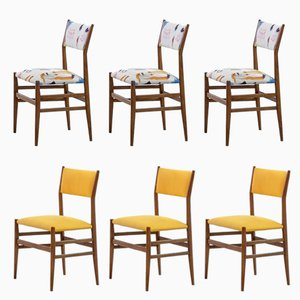 Leggera Linen & Ash Chairs by Gio Ponti for Cassina, 1951, Set of 6