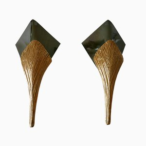 Large Bronze Nefertiti Sconces by Chrystiane Charles for Maison Charles, 1980s, Set of 2