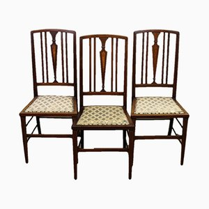 Antique Edwardian Mahogany Dining Chairs, Set of 3