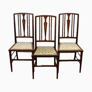 Chaises de Salle à Manger Édouardiennes Antiques en Acajou, Set de 3