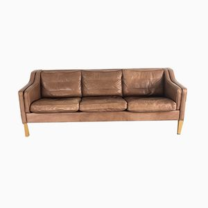 Brown Leather 3-Seater Sofa, 1970s