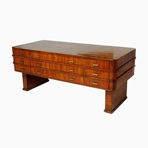 Hungarian Art Deco Walnut Veneer Desk by Lajos Kozma, 1920s