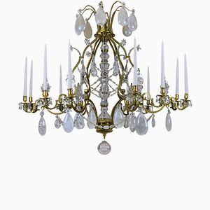 Large Antique Louis XIV Gilt Bronze & Rock Crystal Chandelier