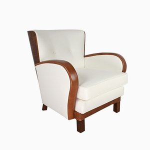 Art Deco Leather, Elm, & Felt Lounge Chair, 1930s