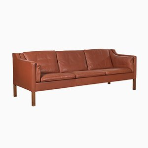 Cognac Leather Model 2213 Sofa by Børge Mogensen for Fredericia, 1980s