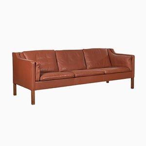 Modell 2213 Sofa aus cognacfarbenem Leder von Børge Mogensen für Fredericia, 1980er