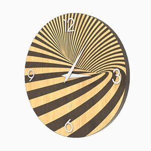Light and Dark Brown Stained Oak Wall Clock from Lignis