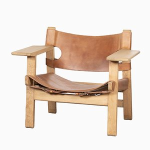 Spanish chair in pelle color cognac e quercia di Børge Mogensen per Fredericia, Spagna, anni '70