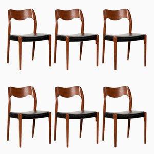 Chaises de Salle à Manger Modèle 71 en Teck par Niels O. Møller pour J.L Møllers Møbelfabrik, 1960s, Set de 6