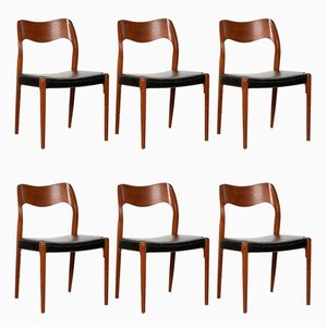 Sedia da pranzo nr. 71 in teak di Niels O. Møller per J.L Møllers Møbelfabrik, anni '60, set di 6