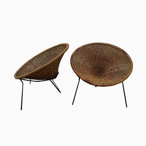 Mid-Century Armlehnstühle aus Rattan von Roberto Mango, 2er Set