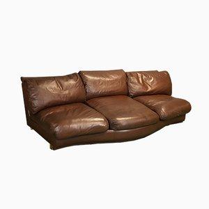 Sofá grande de cuero marrón, años 70