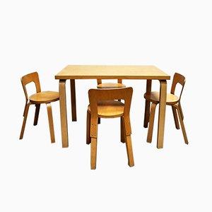 Table de Salle à Manger et 4 Chaises par Alvar Aalto pour Artek, 1960s