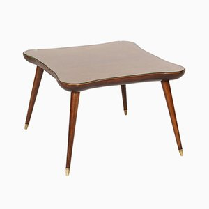 Mid-Century Walnut & Glass Coffee Table by Gio Ponti