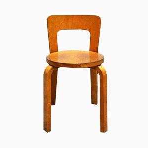 Vintage Modell Nr. 65 Stuhl von Alvar Aalto für Artek, 1960er
