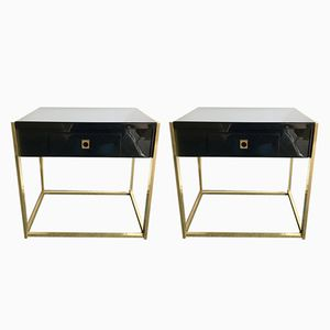 French Lacquered Brass End Tables by Guy Lefèvre for Maison Jansen, 1970s, Set of 2