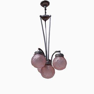 Lampadario Art Déco rosa a quattro luci sferiche di Muller Frères, anni '30