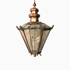 Large Antique English Hexagonal Copper & Brass Lantern from Foster & Pullen