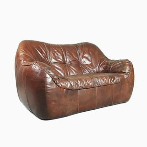 Brown Leather Patchwork Loveseat Sofa, 1970s