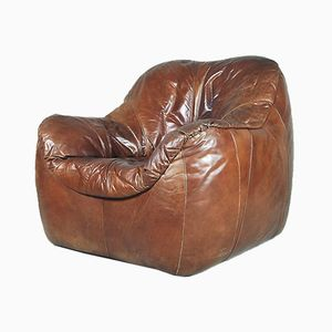 Large Brown Leather Patchwork Armchair, 1970s