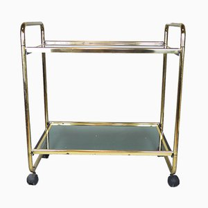 Vintage Gold and Glass Butler's Side Trolley, 1970s