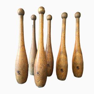 Birilli da bowling in legno, inizio XX secolo, set di 6
