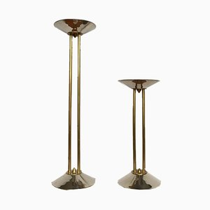 Large Art Deco Steel and Brass Candle Holders, 1930s, Set of 2