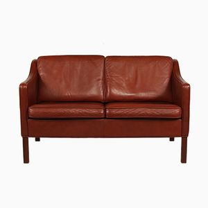 Danish Red-Brown Two-Seater Leather Sofa, 1960s