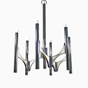 Lámpara de araña de metal cromado de Sciolari, años 70