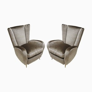 Mid-Century Velvet and Bronze Abeu Armchairs, 1950s, Set of 2