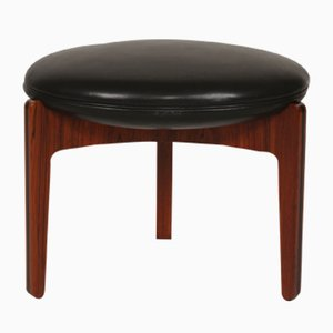 Round Vintage Rosewood & Black Leather Stool by Sven Ellekær for Chr. Linnebergs