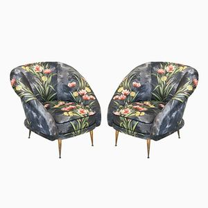 Mid-Century Bronze and Upholstery Armchairs, 1950s, Set of 2