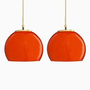 Lampade Mid-Century arancioni in vetro opalino, set di 2