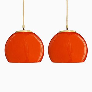 Lampes à Suspension Mid-Century Orange en Verre Opalin, Set of 2