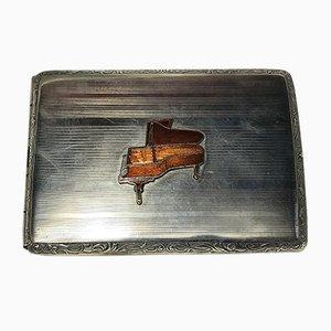 Portasigarette Art Déco vintage argentato, anni '20